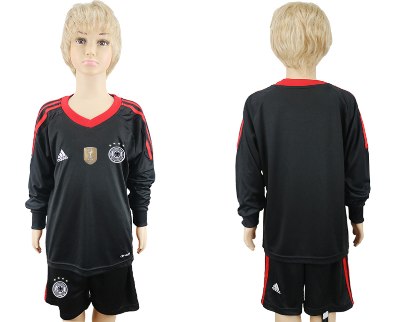 2018 World Cup Germany black goalkeeper Long sleeve kids blank soccer jersey