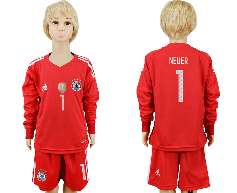 2018 World Cup Germany red goalkeeper Long sleeve kids 1 soccer jersey