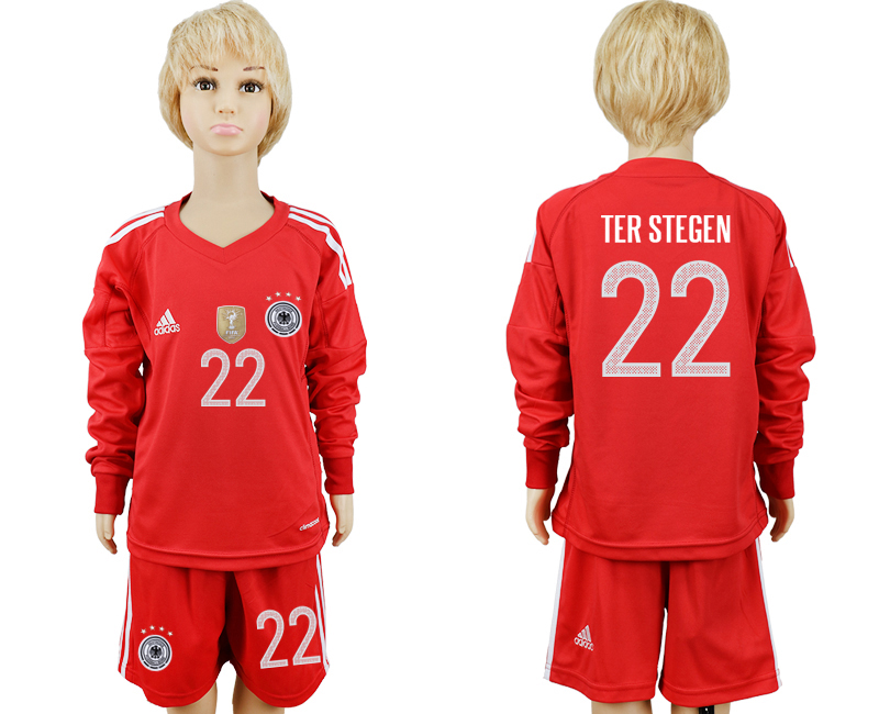 2018 World Cup Germany red goalkeeper Long sleeve kids 22 soccer jersey