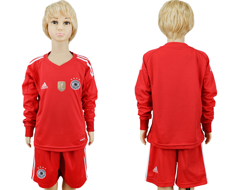 2018 World Cup Germany red goalkeeper Long sleeve kids blank soccer jersey