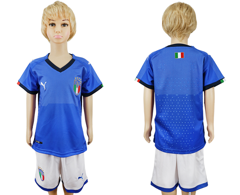 2018 World Cup Italy home blank blue kids soccer jersey