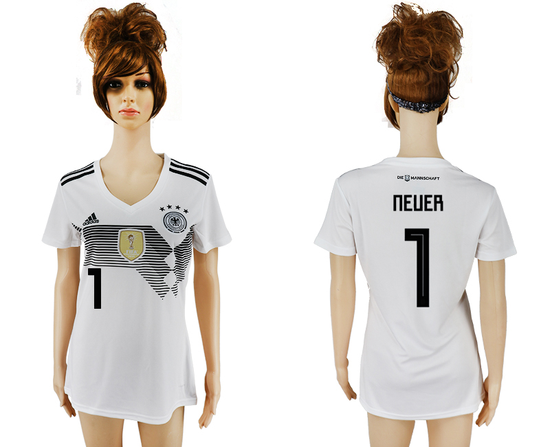 2018 World Cup National Germany home aaa version womens 1 white soccer jersey