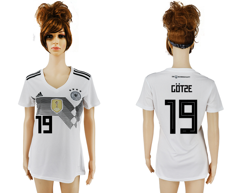 2018 World Cup National Germany home aaa version womens 19 white soccer jersey