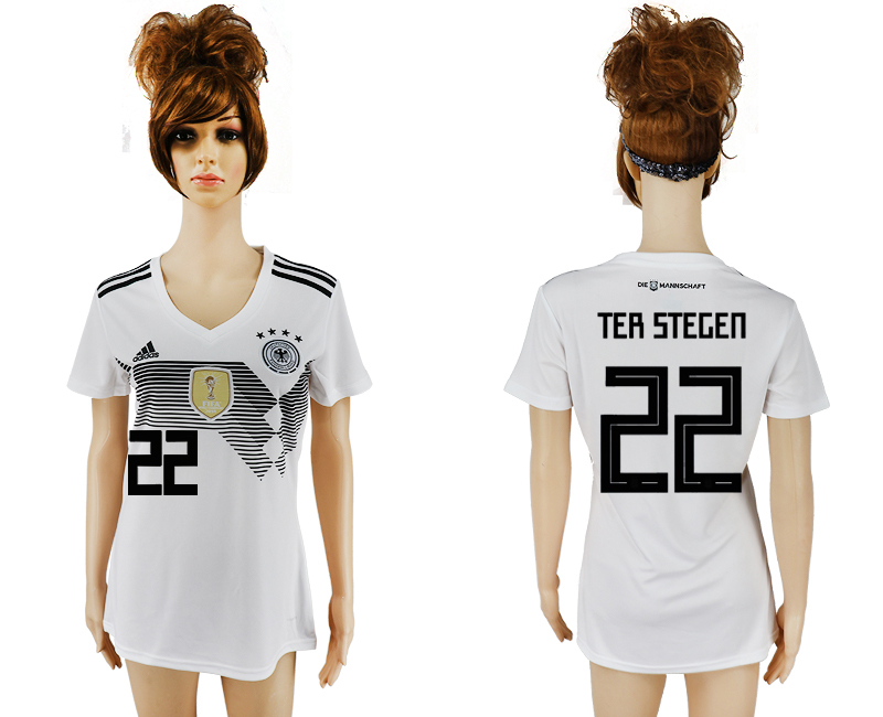 2018 World Cup National Germany home aaa version womens 22 white soccer jersey