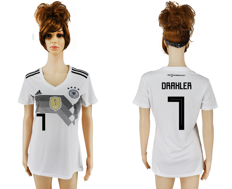 2018 World Cup National Germany home aaa version womens 7 white soccer jersey