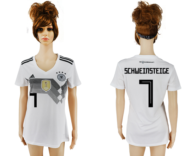 2018 World Cup National Germany home aaa version womens 7 white soccer jersey1
