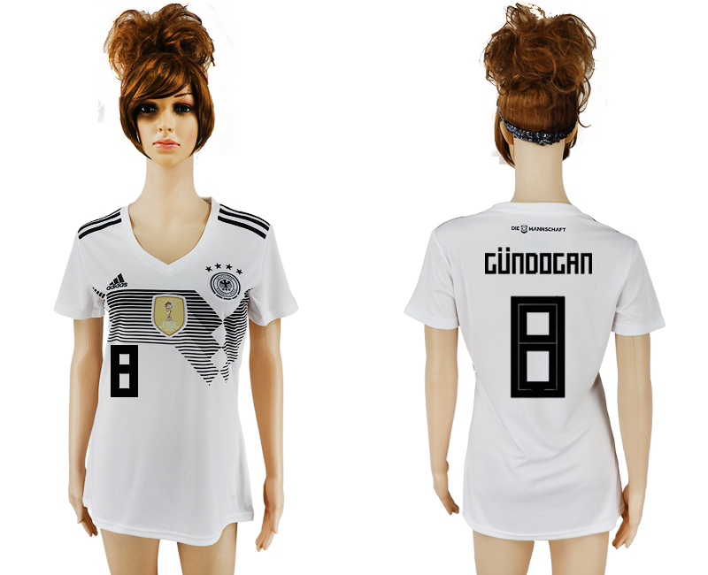 2018 World Cup National Germany home aaa version womens 8 white soccer jersey1