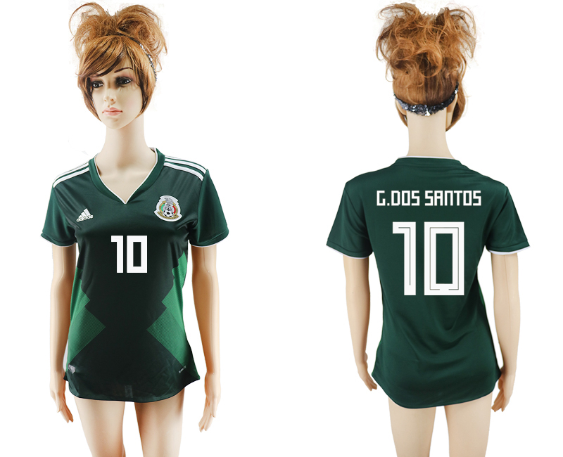 2018 World Cup National Mexico home aaa version womens 10 green soccer jersey