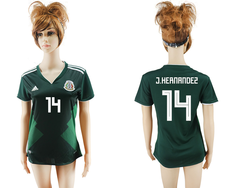 2018 Coupe du Monde National Mexique accueil aaa version femmes 14 vert football jersey1