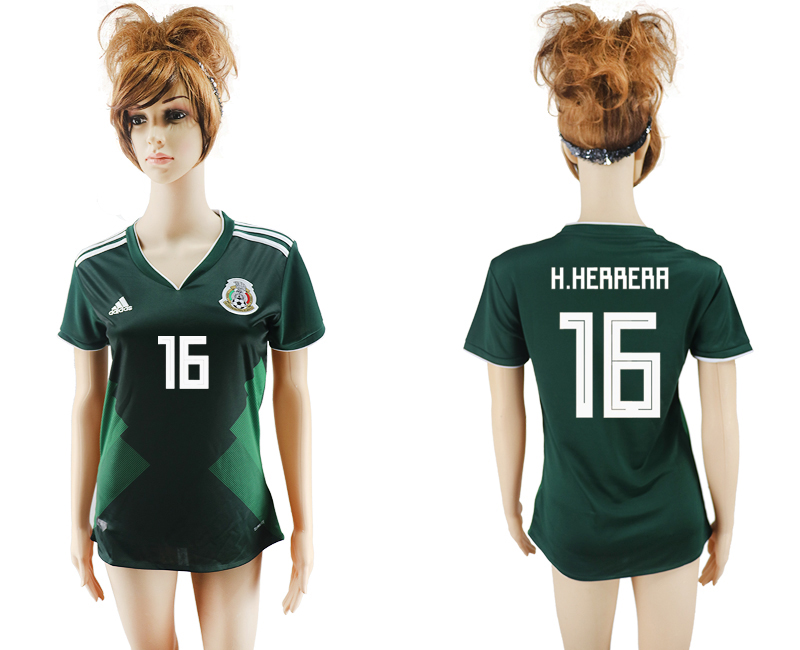 2018 World Cup National Mexico home aaa version womens 16 green soccer jersey
