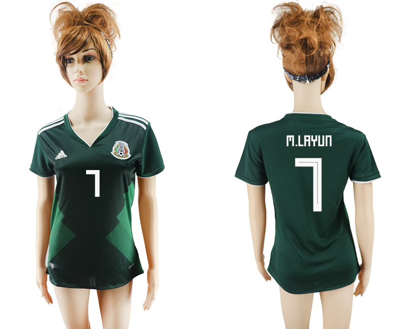 2018 World Cup National Mexico home aaa version womens 7 green soccer jersey