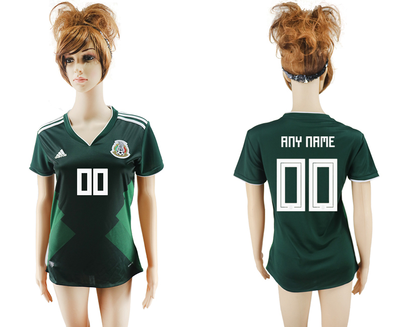 2018 World Cup National Mexico home aaa version womens customized green soccer jersey