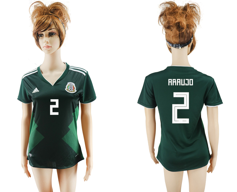 2018 World Cup National Mexico home aaa version womens 2 green soccer jersey