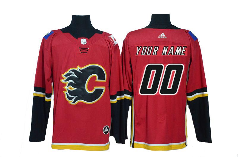 Customized Men 2017 NHL Calgary Flames Blank Red Adidas jersey