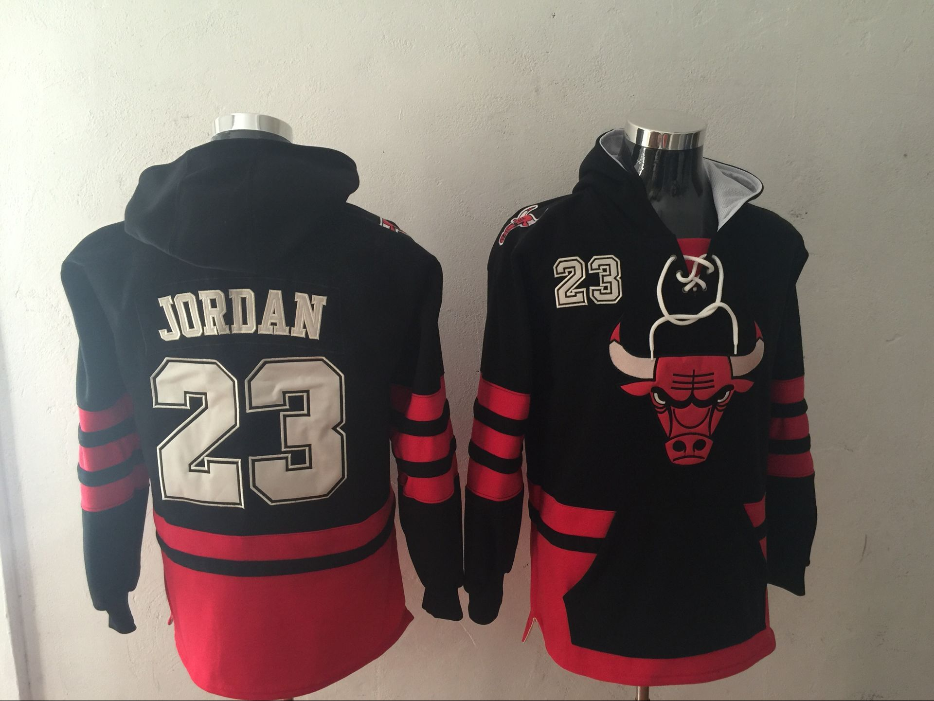 Men 2017 NBA Chicago Bulls 23 Jordan Black Hoodie