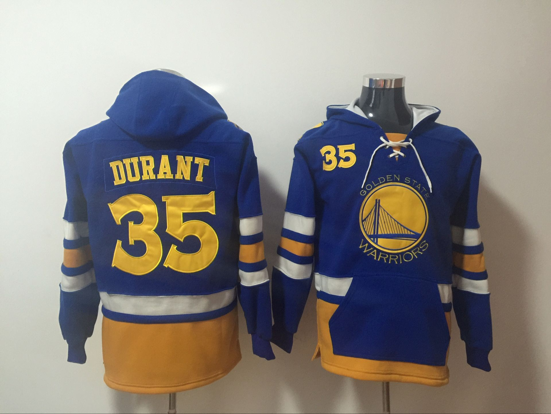 Men 2017 NBA Golden State Warriors 35 Kevin Durant Blue hoodie
