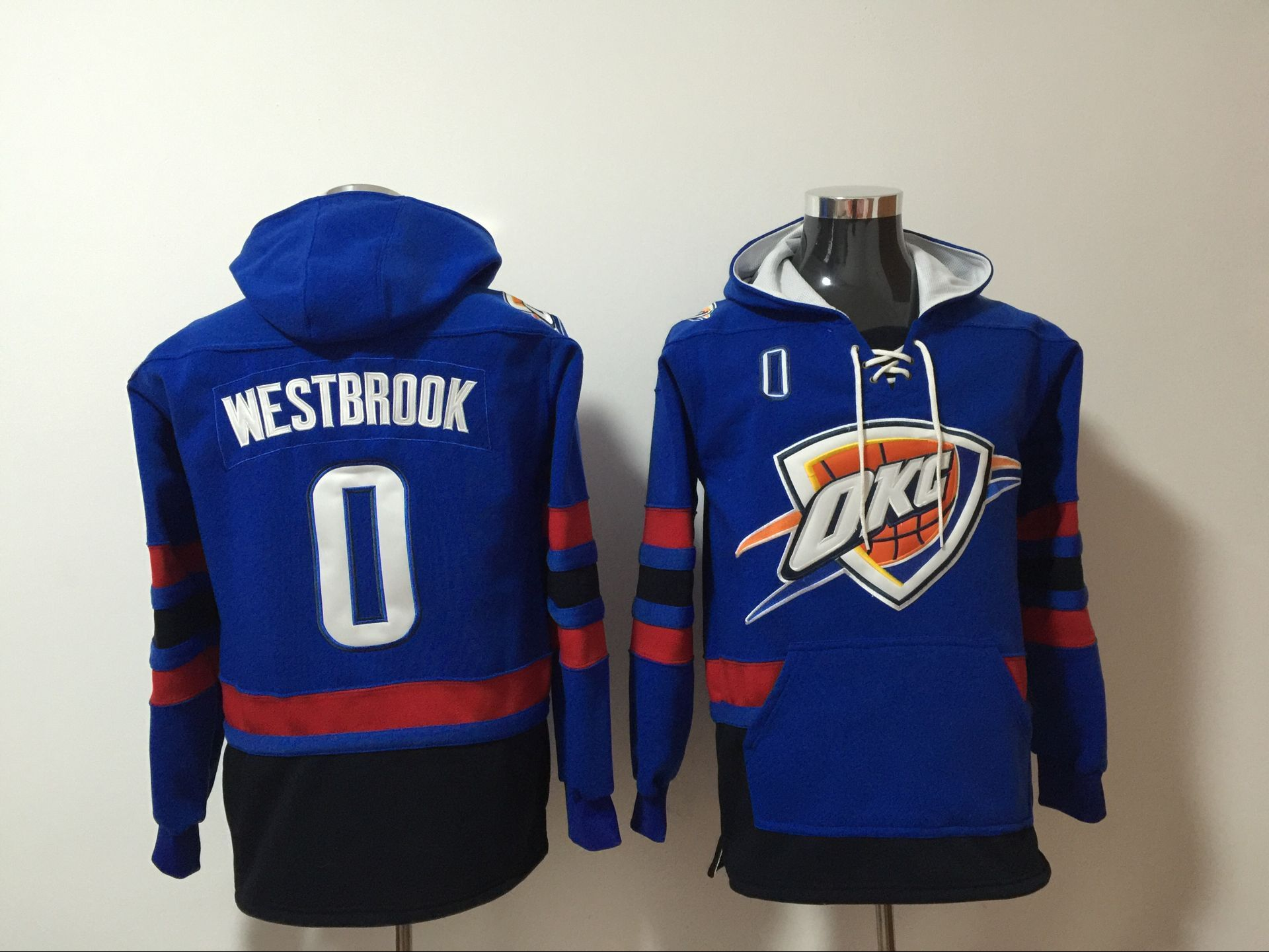 Men 2017 NBA Oklahoma City Thunder 0 Russell Westbrook blue Hoodie