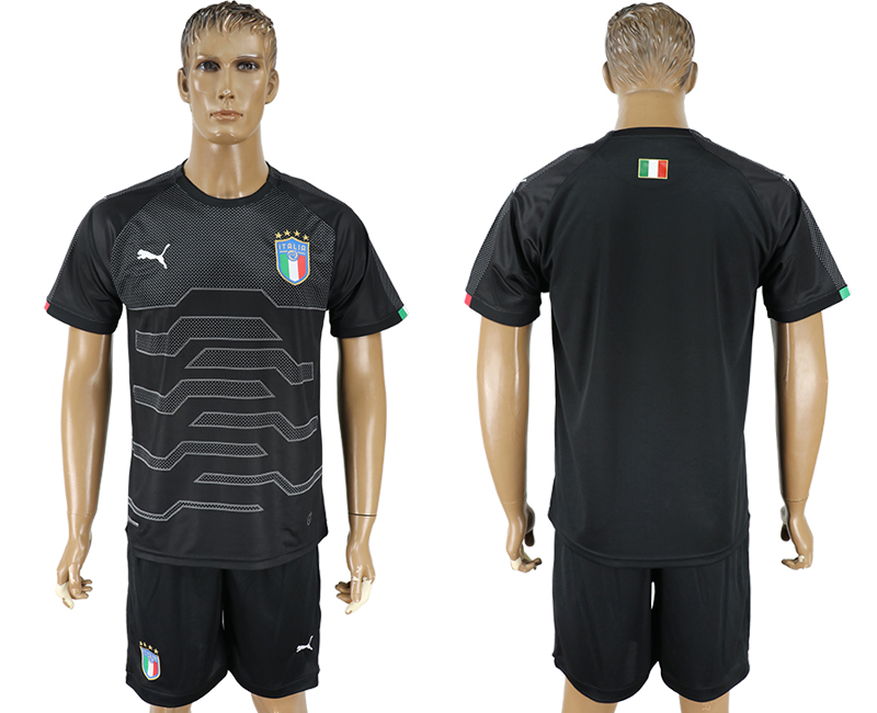 Men 2017-2018 National Italy black goalkeeper blank soccer jersey
