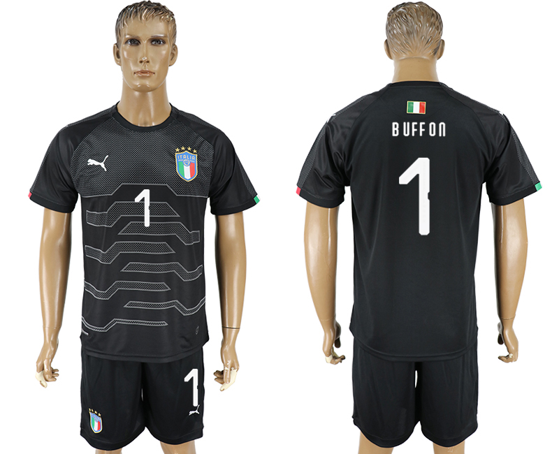 Men 2017-2018 National Italy black goalkeeper 1 soccer jersey