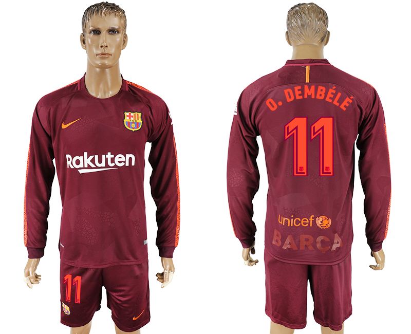 Men 2017-2018 club Barcelona away long sleeve 11 red soccer jersey1