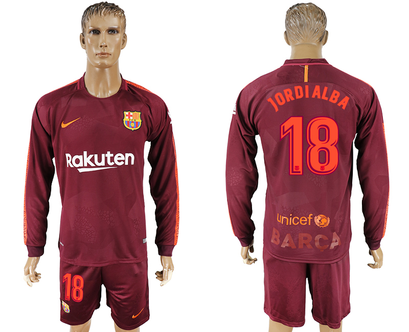 Men 2017-2018 club Barcelona away long sleeve 18 red soccer jersey