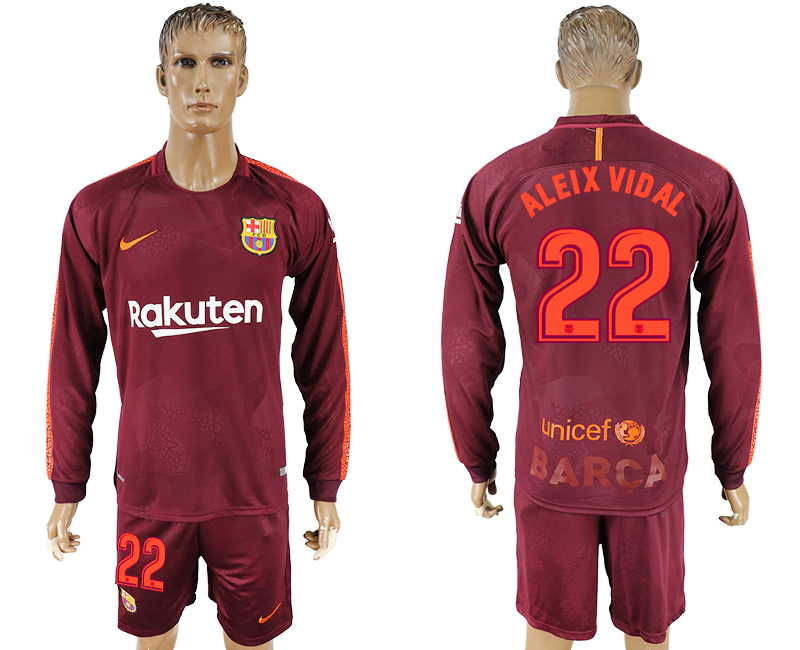Men 2017-2018 club Barcelona away long sleeve 22 red soccer jersey