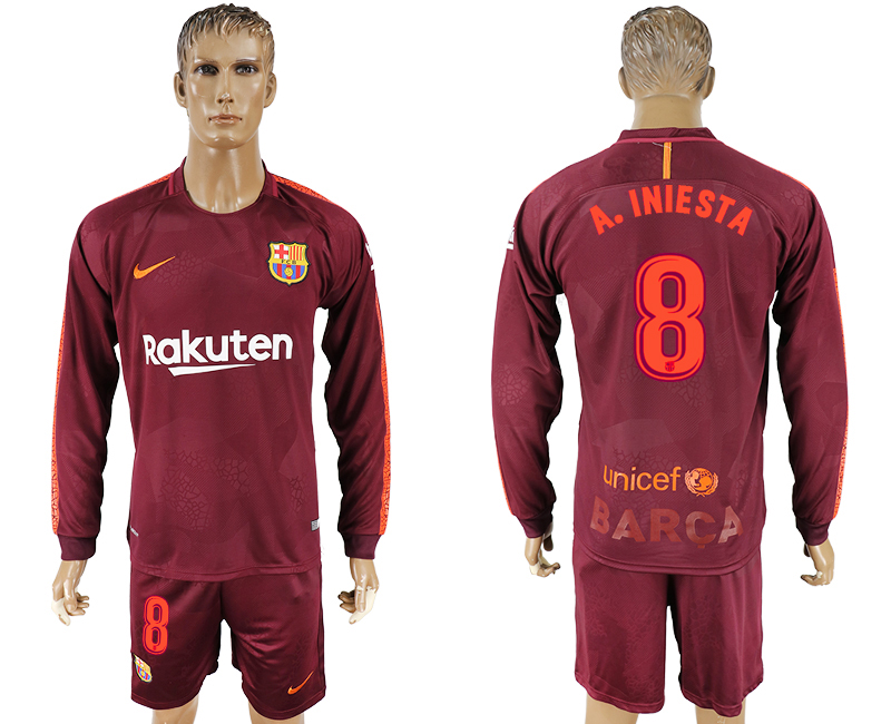 Men 2017-2018 club Barcelona away long sleeve 8 red soccer jersey