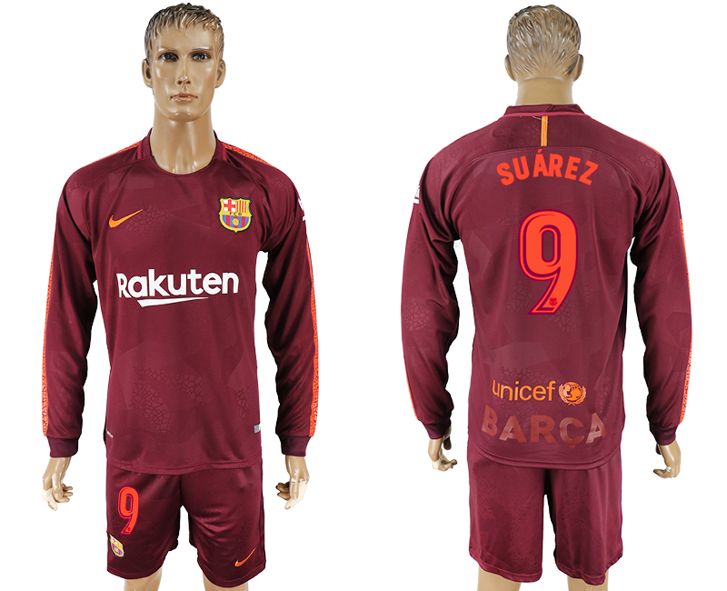 Men 2017-2018 club Barcelona away long sleeve 9 red soccer jersey
