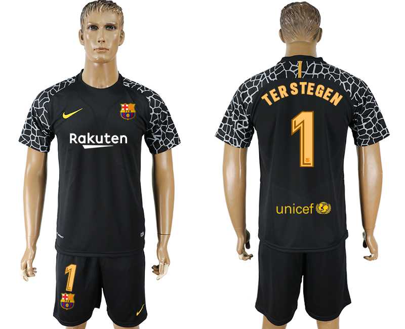 Men 2017-2018 club Barcelona black goalkeeper 1 soccer jersey