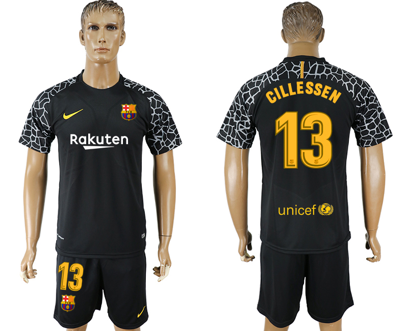 Men 2017-2018 club Barcelona black goalkeeper 13 soccer jersey