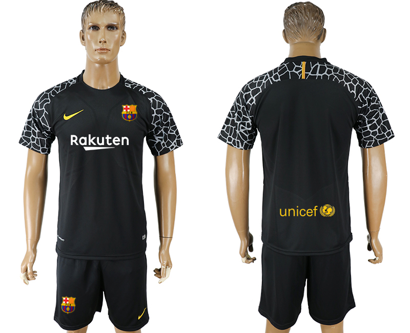 Men 2017-2018 club Barcelona black goalkeeper blank soccer jersey