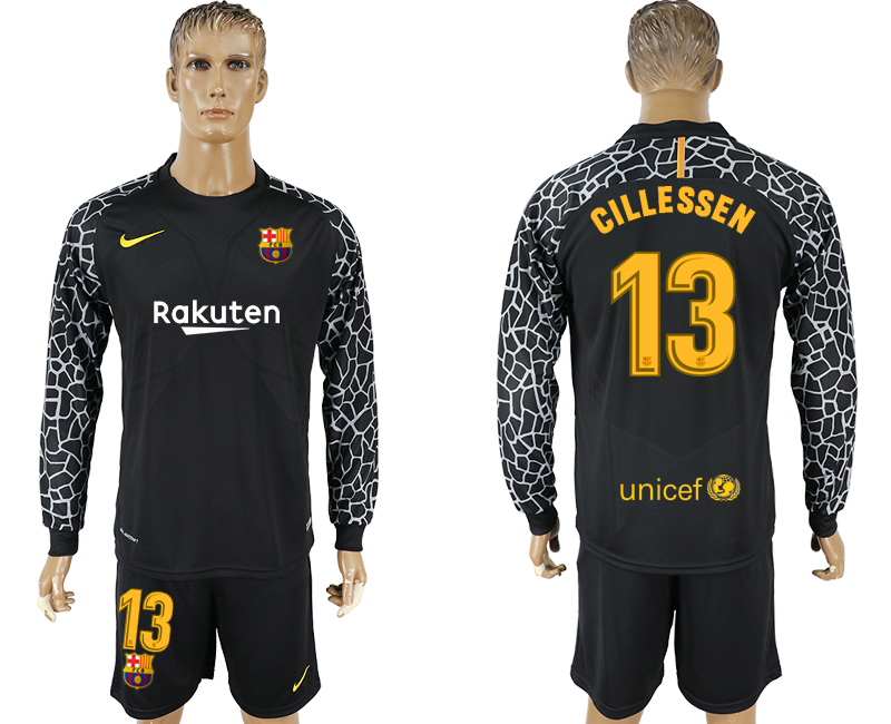 Men 2017-2018 club Barcelona black goalkeeper long sleeve 13 soccer jersey