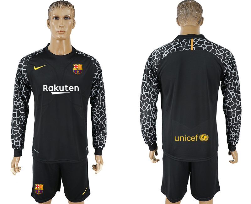 Men 2017-2018 club Barcelona black goalkeeper long sleeve blank soccer jersey