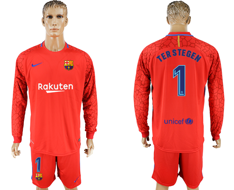 Men 2017-2018 club Barcelona red Long sleeve goalkeeper 1 red soccer jersey