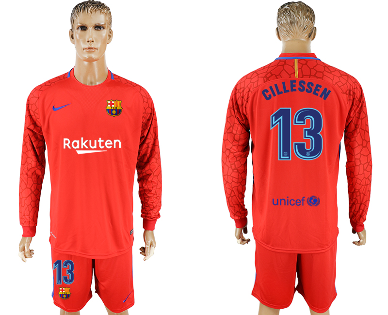 Men 2017-2018 club Barcelona red Long sleeve goalkeeper 13 red soccer jersey