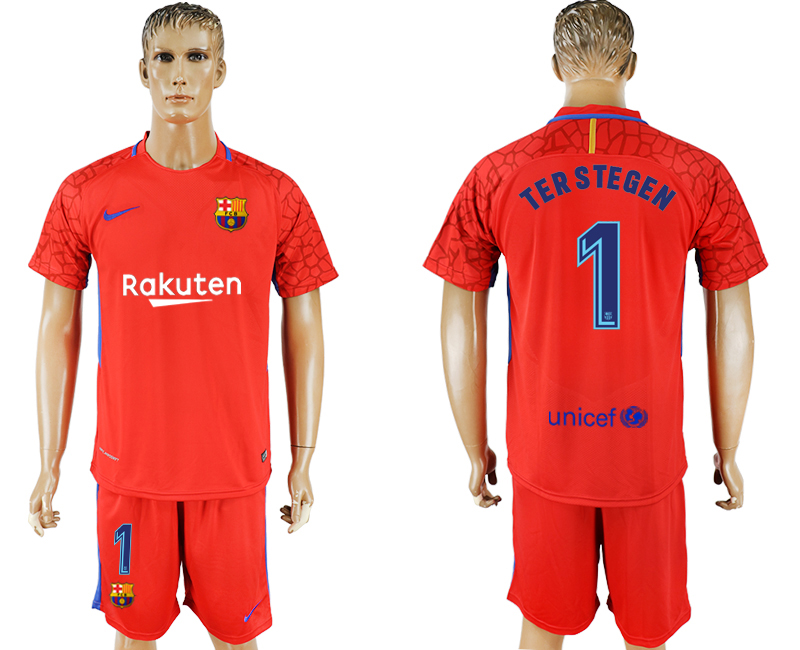 Homme 2017-2018 club Barcelone gardien rouge 1 maillot de football rouge