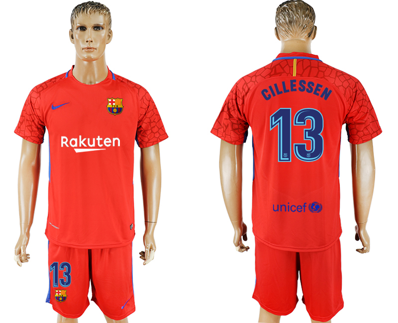 Hommes 2017-2018 club Barcelone gardien rouge 13 rouge football maillot