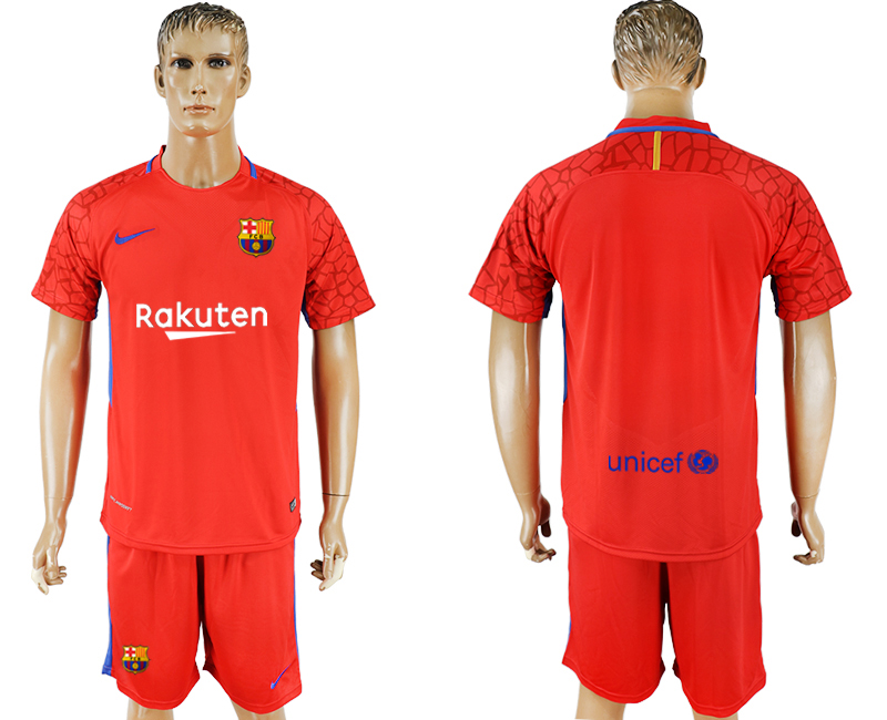 Hommes 2017-2018 club Barcelone gardien rouge blanc maillot de football rouge