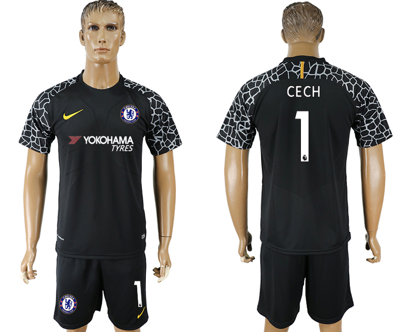 Men 2017-2018 club Chelsea black goalkeeper 1 soccer jersey