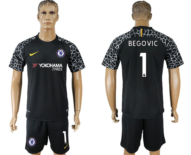 Men 2017-2018 club Chelsea black goalkeeper 1 soccer jersey1