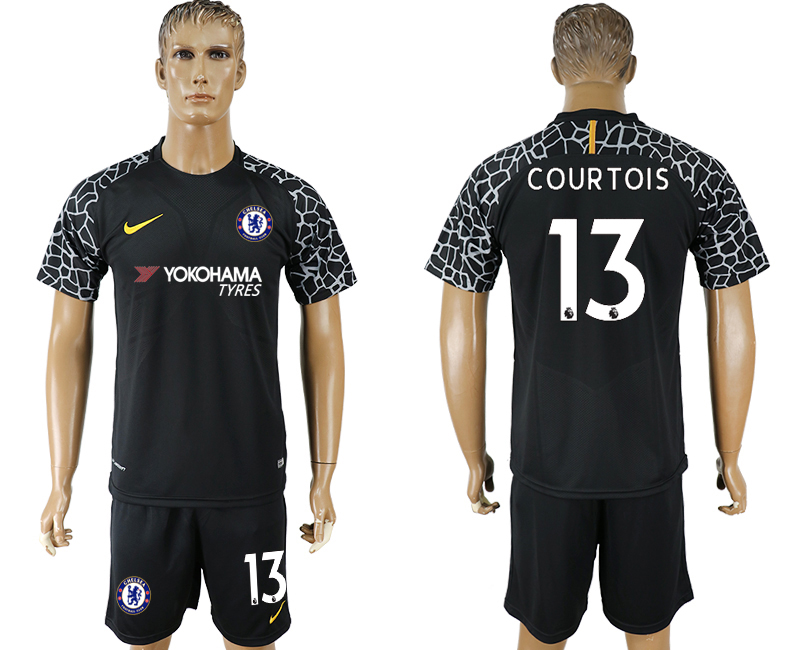 Men 2017-2018 club Chelsea black goalkeeper 13 soccer jersey