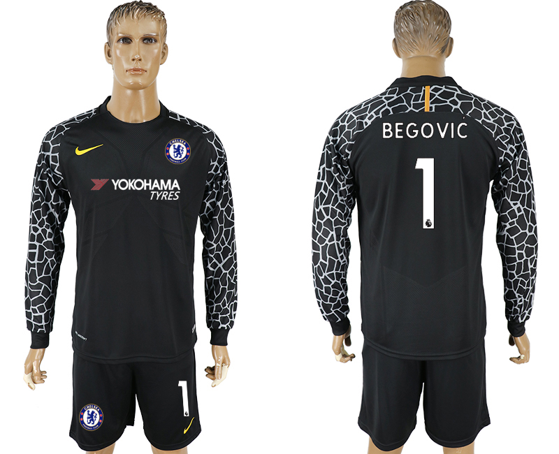 Men 2017-2018 club Chelsea black goalkeeper Long sleeve 1 soccer jersey