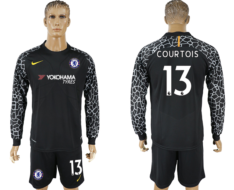 Men 2017-2018 club Chelsea black goalkeeper Long sleeve 13 soccer jersey