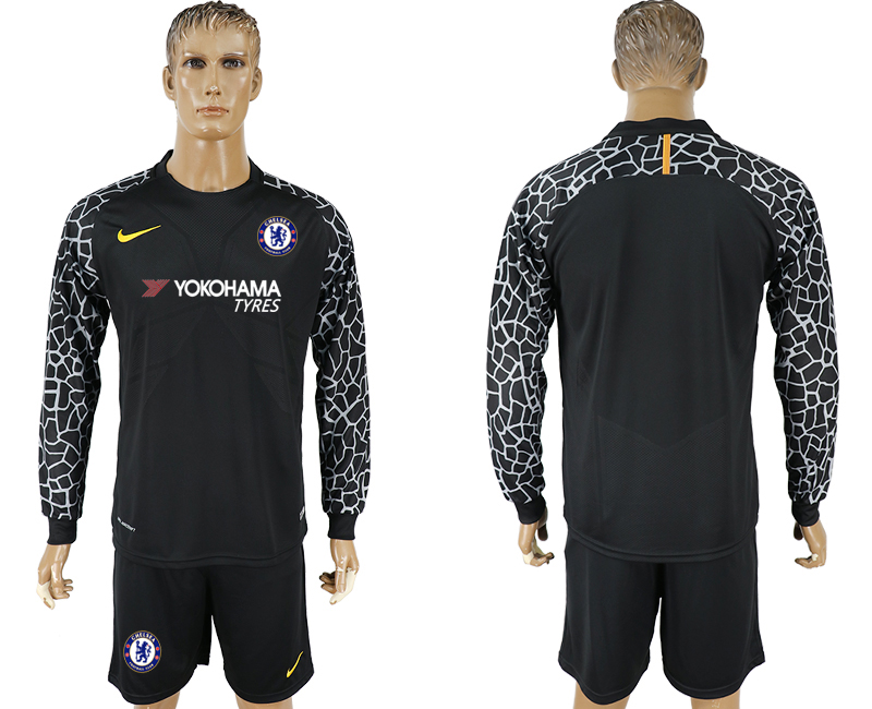 Men 2017-2018 club Chelsea black goalkeeper Long sleeve soccer jersey