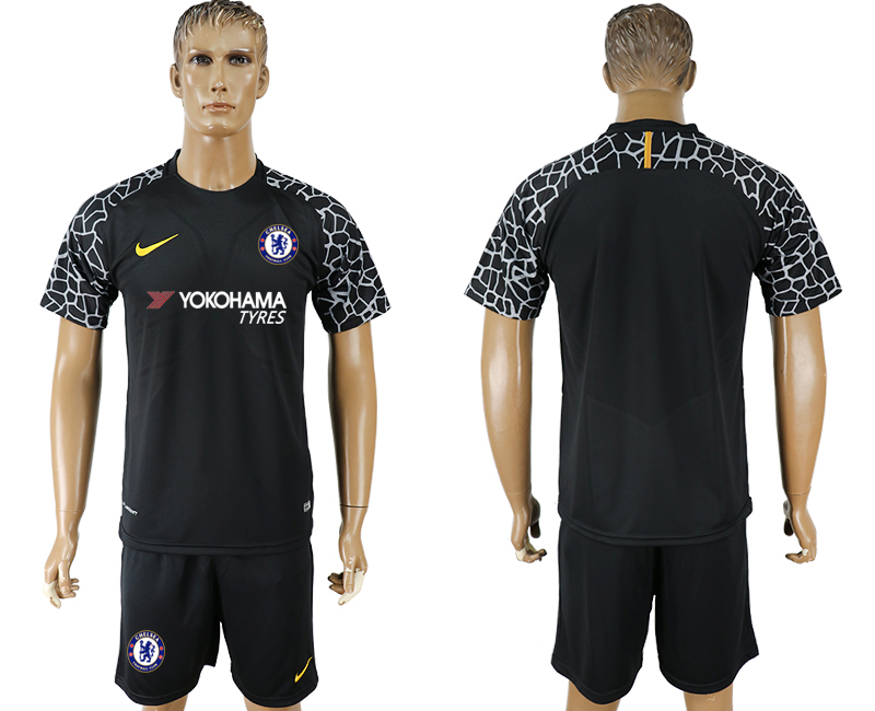 Men 2017-2018 club Chelsea black goalkeeper soccer jersey