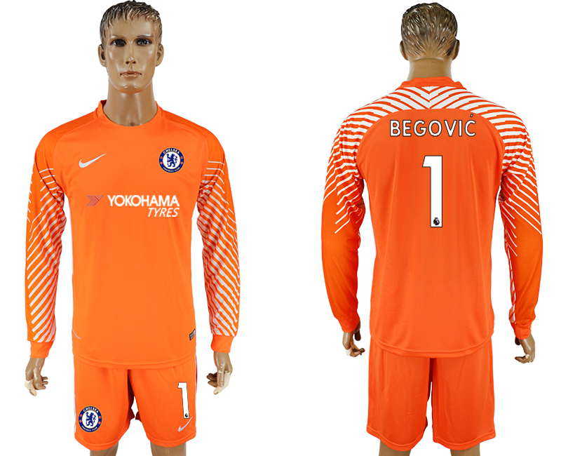 Men 2017-2018 club Chelsea orenge goalkeeper long sleeve 1 soccer jersey