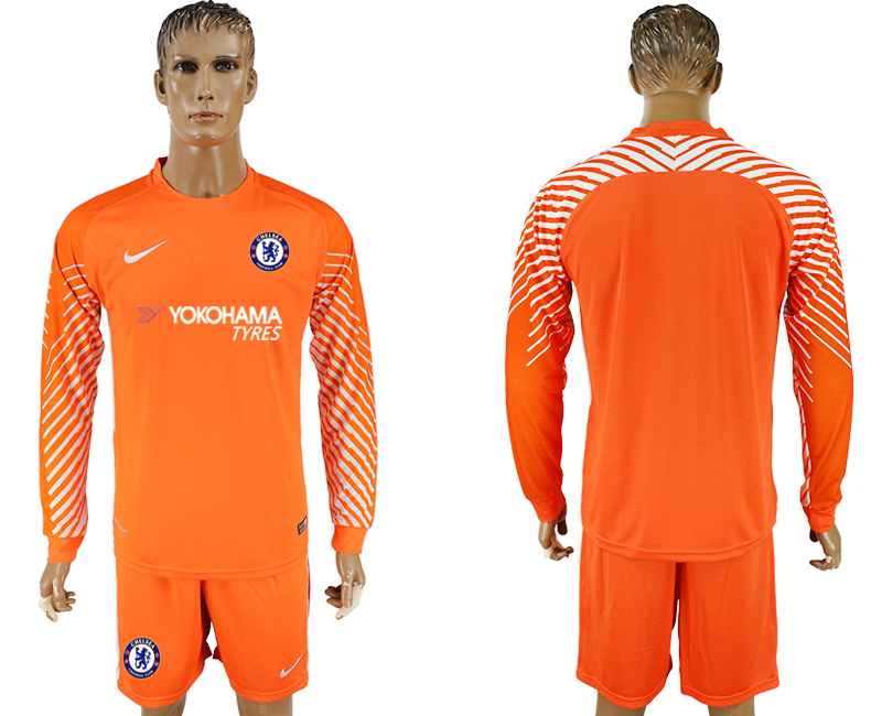 Men 2017-2018 club Chelsea orenge goalkeeper long sleeve soccer jersey