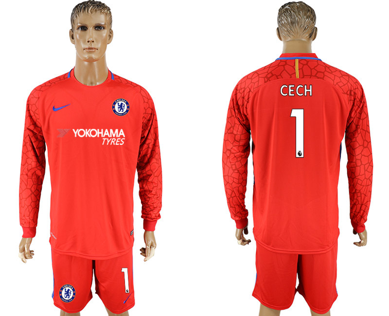 Men 2017-2018 club Chelsea red goalkeeper long sleeve 1 soccer jersey
