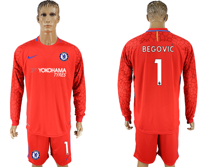 Men 2017-2018 club Chelsea red goalkeeper long sleeve 1 soccer jersey1
