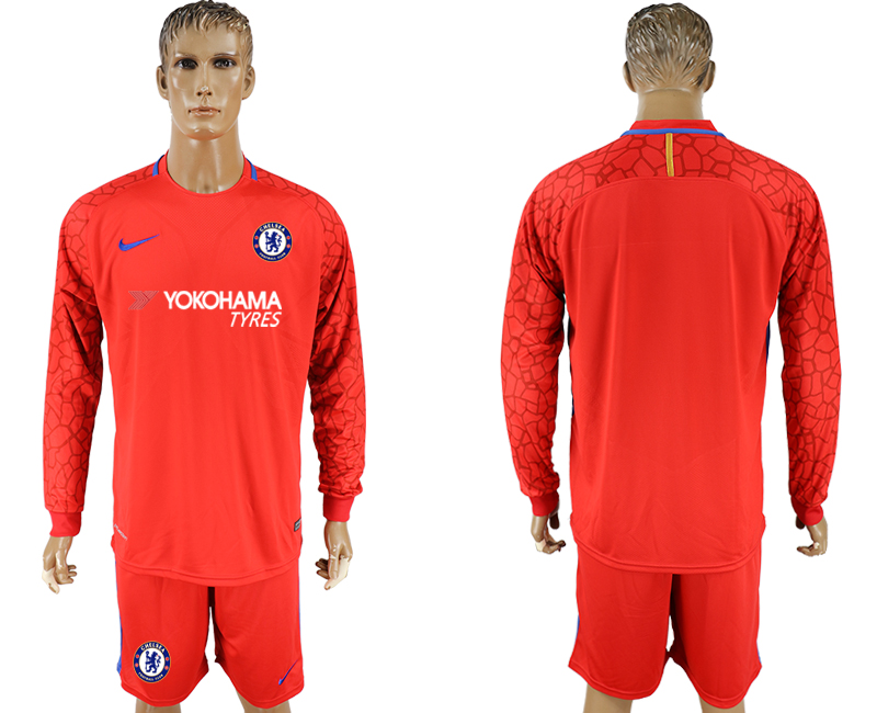 Men 2017-2018 club Chelsea red goalkeeper long sleeve soccer jersey